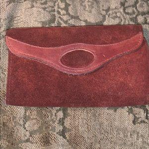 VTG Suede Leather Fold Over Wallet Brown